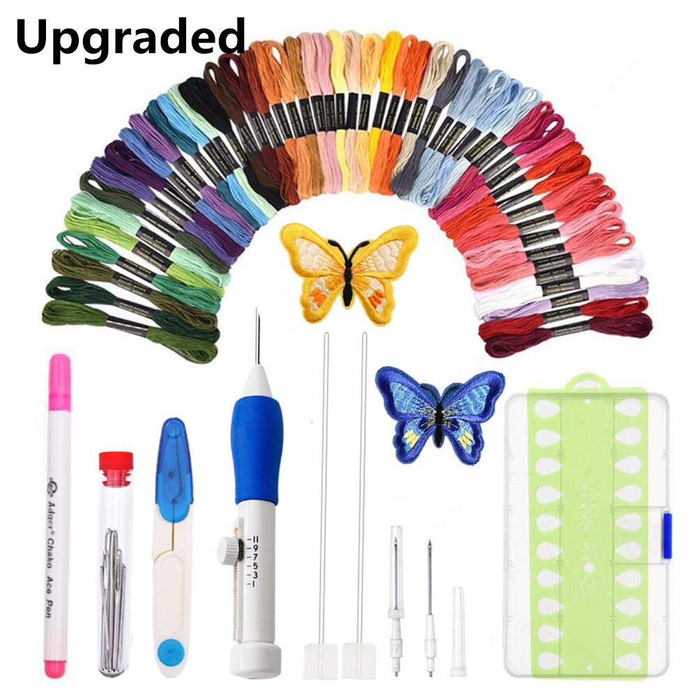 Punch Needle Embroidery Kit,Magic Embroidery Pen Punch Needle Set with 50 Colors Threads/&Embroidery Tools Upgraded