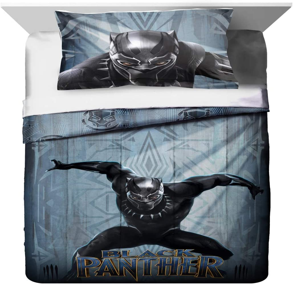 Tn 2 Piece Kids Grey Blue Black Panther Comforter Twin/Full Set, Childrens Marvel Bedding Katze Superhero Themed Action Movie Character Yellow, Polyester