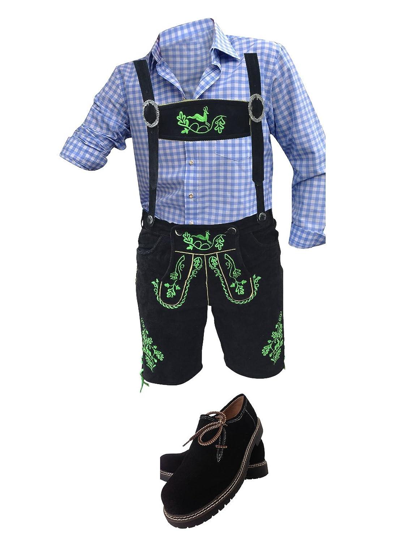 Trachtenhosen Anzug Trachtenanzug Trachtenlederhosen Lederhosen+Hemden+Strümpfe+Haferl Schuhe+Träger Schwarz