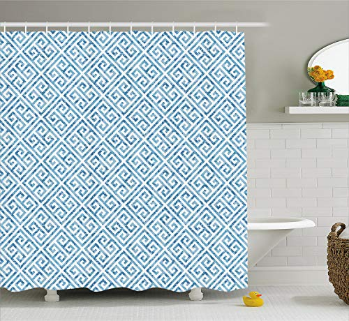 Ambesonne Greek Key Shower Curtain, Tile Mosaic Pattern in Blue and White with Antique Meander and Camo Effect, Cloth Fabric Bathroom Decor Set with Hooks, 70