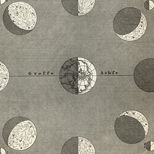 Moon chart Earth Rotations 1850's old map diagram print Visual Effects Light