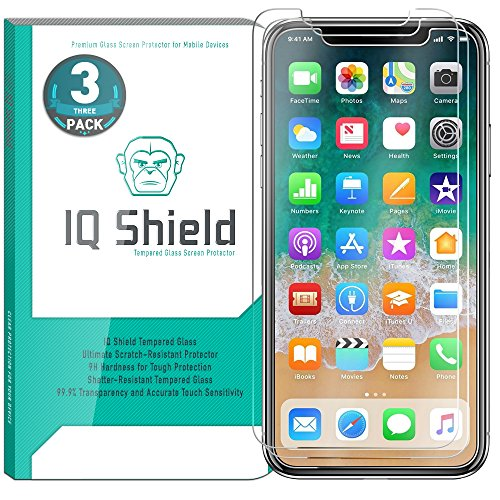 IQ Shield Glass Screen Protector Compatible with iPhone X (iPhone 10 2017)(3-Pack)(Case Friendly) Clear Tempered Ballistic Glass HD and Transparent Shatter-Proof Shield, 99% Touch Accuracy