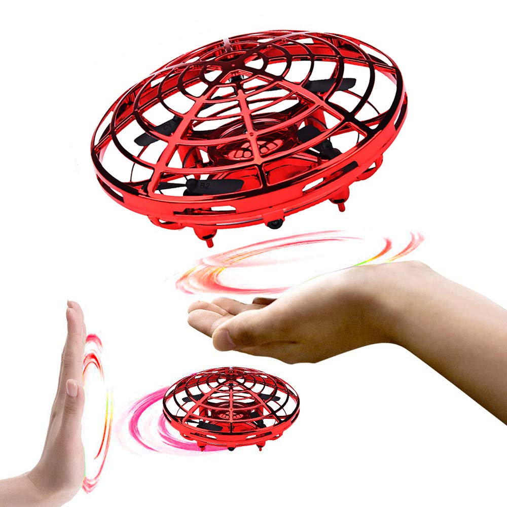 EIATBF Hand Operated Flying Mini UFO Drone, Kids Hands Free Helicopter ,Hand Controlled Mini Quadcopter for Kids Boys and Girls Interactive Flying Ball Toy Party Present with LED Lights (Red) by EIATBF