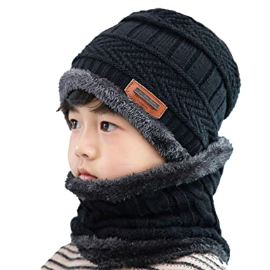 859a7b3e0ca Kids Boys Girls Winter Knitted Beanie Hat Scarf Set 2 Pcs Warm Cap and Neck  Warmer