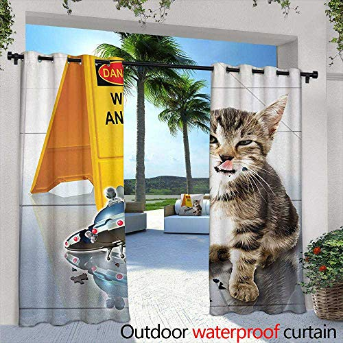 Tim1Beve Outdoor Window Curtains Animal Cute Flirty Adorable Kitten on The Floor with UFO and Warning Sign Art Print Image for Porch&Beach&Patio 108