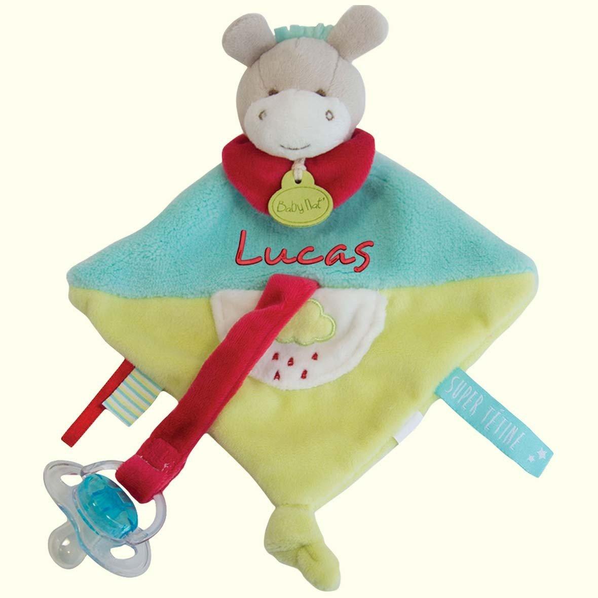 Doudou Ane attache porte tétine à broder avec prénom- cadeau liste de naissance - cadeau personnalisé naissance - cadeau personnalisé bébé