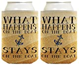 Funny Beer Coolie What Happens On Boat Stays Boating Gift 2 Pack Can Coolies