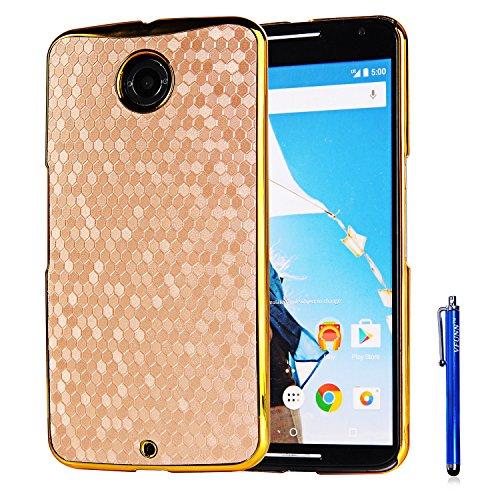Nexus 6 Case,Vfunn Elegant Plating Hard Back Case Cover for Motorola Google Nexus 6 with 1 Clear Screen Protector 1 Stylus Pen (Nexus 6 Case) (Golden)