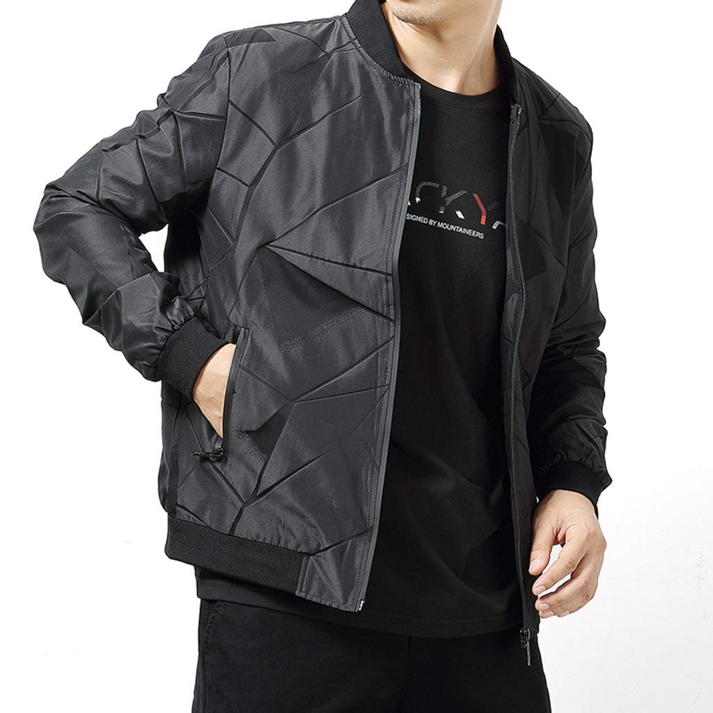 spring and autumn mens casual business windproof breathable baseball collar stand collar bomber jacket Plaid jacket