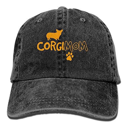 - Men Women Adjustable Yarn-Dyed Denim Baseball Caps Corgi Mom Hiphop Cap