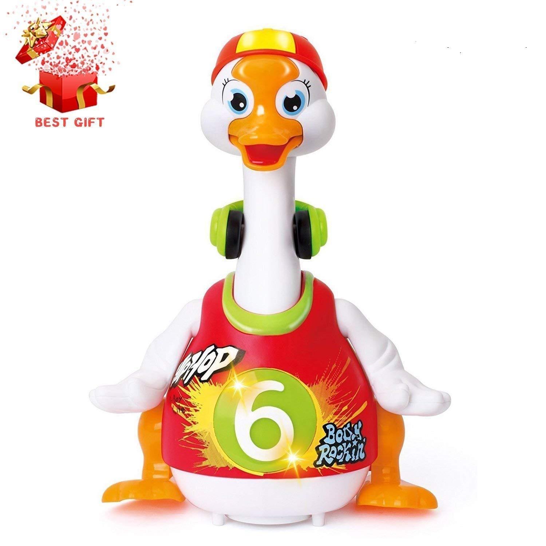 HOMOFY Goose Baby Dancing Hip Hop Swing 6 Months up, Super Fun EQ Development Educational Toys Flexible Walking/Light/Music