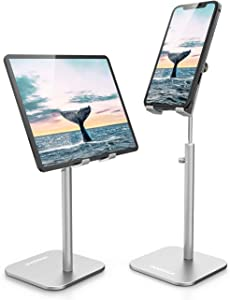 ODOSOLA Cell Phone Stand, Newly-Upgraded Angle/Height Adjustable Mobile Phone Holder Stands for Desk Home, 4-11'' Eye-Level Aluminum Tablet Holders Compatible with iPhone iPad Kindle Tablet(Silver)