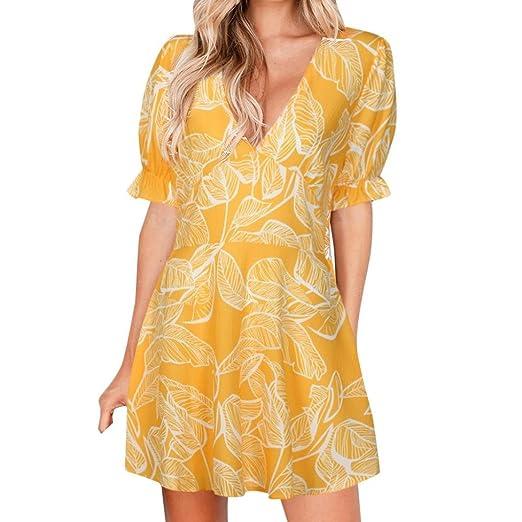 e05084e81915 Women Dresses Summer On Sale Clearance Cuekondy Sexy V Neck Casual Leaves  Printing Short Sleeve Mini