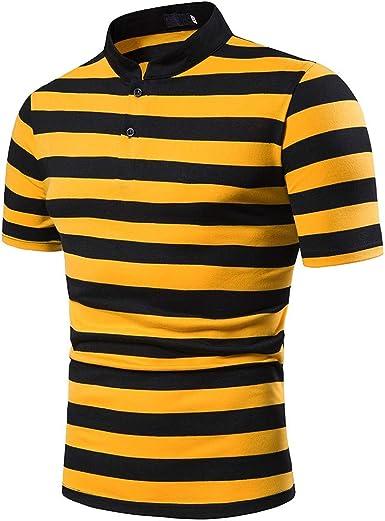 Overdose Polo Hombre Camisa Slim Fit Casual A Rayas para Hombre Camisa con Remiendo De Manga Corta Top Blusa Informal: Amazon.es: Ropa y accesorios