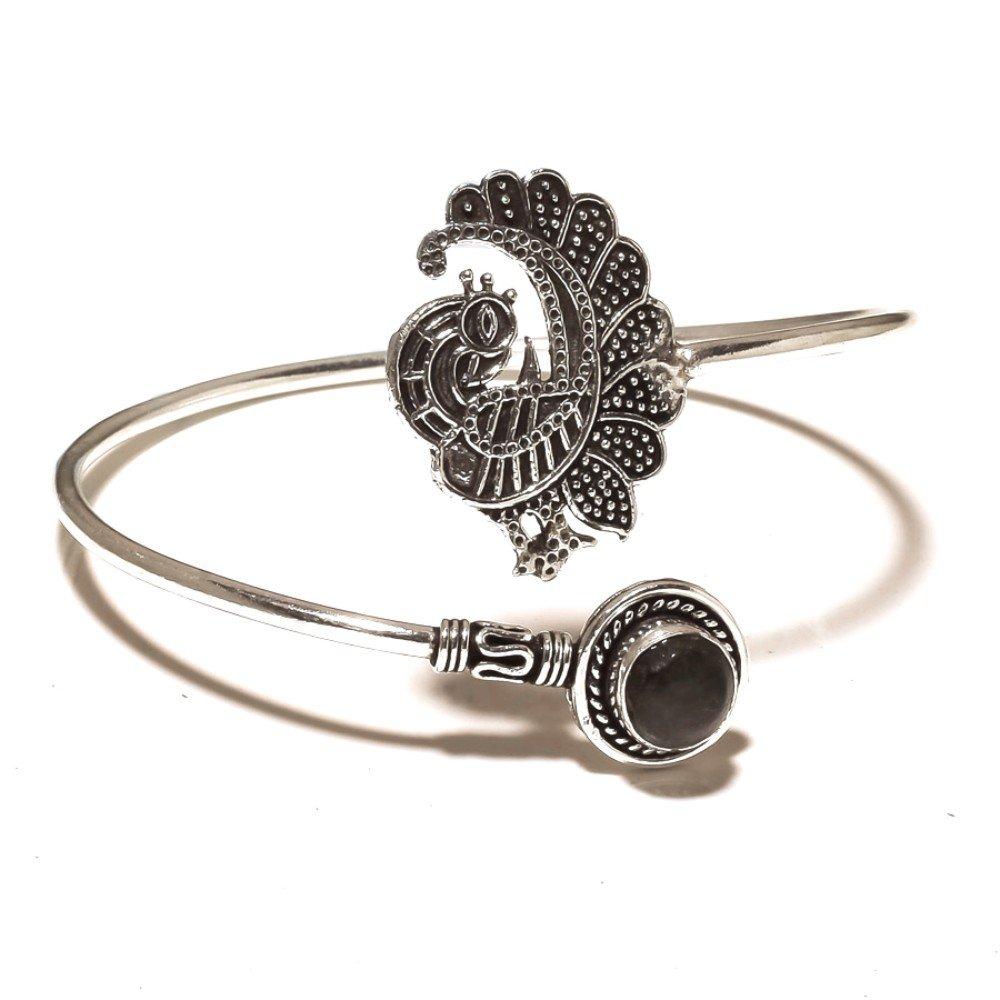 Black Labradorite Sterling Silver Overlay 14 Grams Bangle//Bracelet Free Size Gift Jewelry