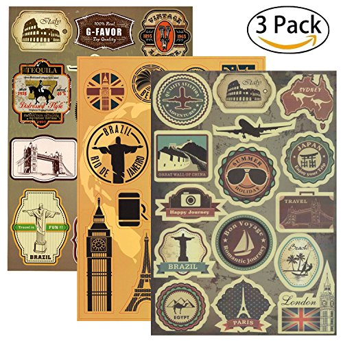 VintageBee Vintage Luggage Stickers Fifa World Cup Multi Countries Retro Landmark Monument Travel Airline Plane Patterns Stickers Suitcase Laptop Waterproof Stickers Decor Labels A4 3PCS