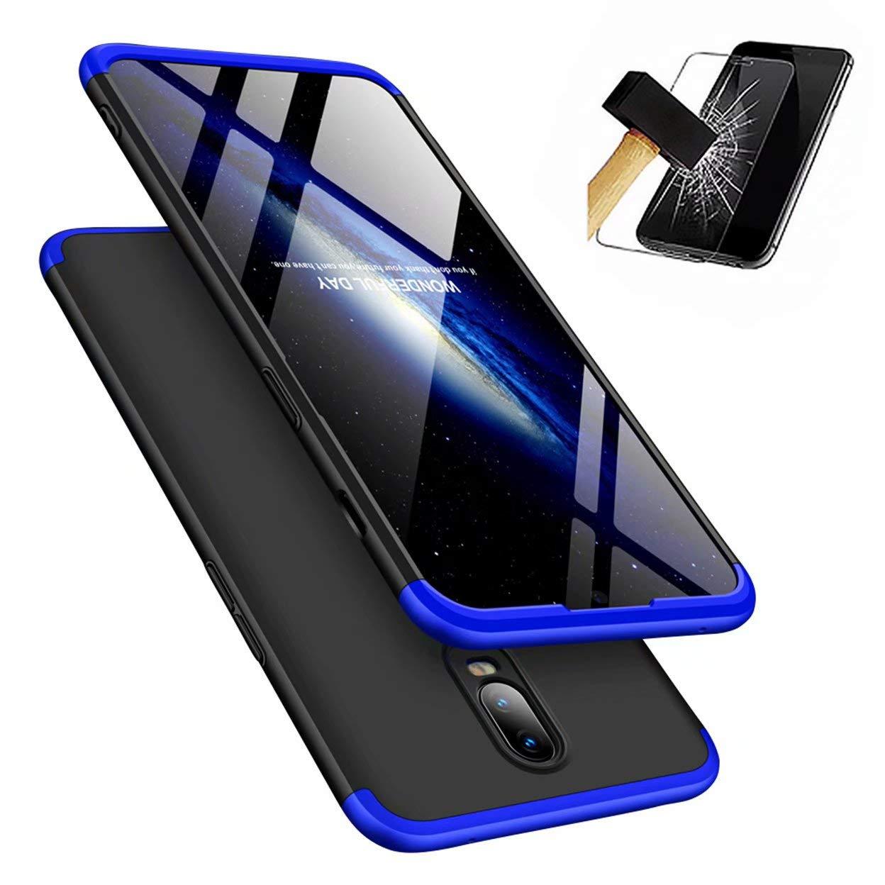 OnePlus 6Tケース、Laixin 360°フルボディPC保護スキンカバー付き強化ガラススクリーンプロテクターフィルム指紋防止耐衝撃性プラスチックハードフォンシェル(ブルー&ブラック)   B07L5PSWGK