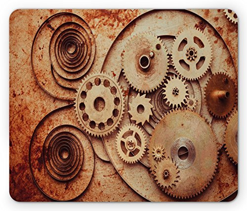 hanical Clocks Details Old Rusty Look Backdrop Gears Steampunk Design Rectangle Non-Slip Rubber Mousepad, Dark Orange Peach (Mechanical Copper Clock)