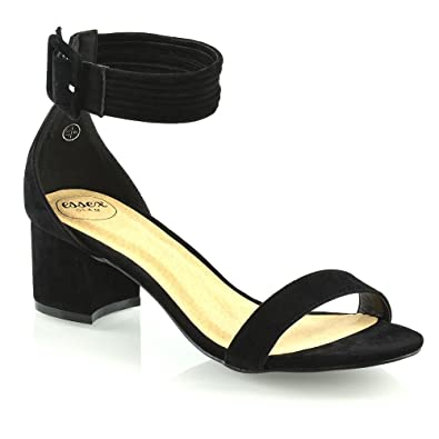 dc03e7672db ESSEX GLAM Womens Ankle Strap Low Mid Heel Sandals Ladies Party Bridesmaid  Open Toe Shoes Black