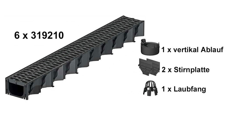ACO Self/® Hexaline 2.0 Entw/ässerungsrinne mit Kunststoffrost und rutschhemmendem Microgrip 6 x 1m mit Zubeh/ör-Set