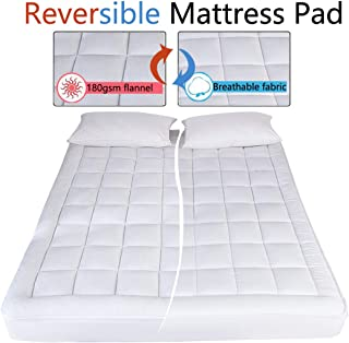 DREAMFLYLIFE Twin Mattress Pad Cover-400TC Spring Fabric and 180GSM Flannel Reversible Cover Twin Size Pillow Top Mattress Topper with Hypoallergenic Cotton Fill (8 to 21 Inches Fitted Deep Pocket)
