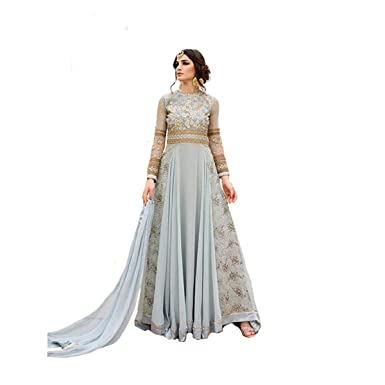 d799aa59ac Amazon.com: Ready to wear Indian/Pakistani Ethnic Designer Gown Evening  party wear (Stitching Available) 7108 A: Clothing
