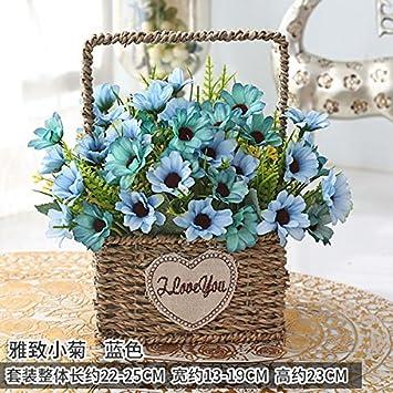 XPHOPOQ Künstliche Blumen Europäischen Stil Blumen Rose Wohnzimmer Home  Kunststoff Blumen Pflanzen Chrysantheme Blaue Braut Hochzeitsparty