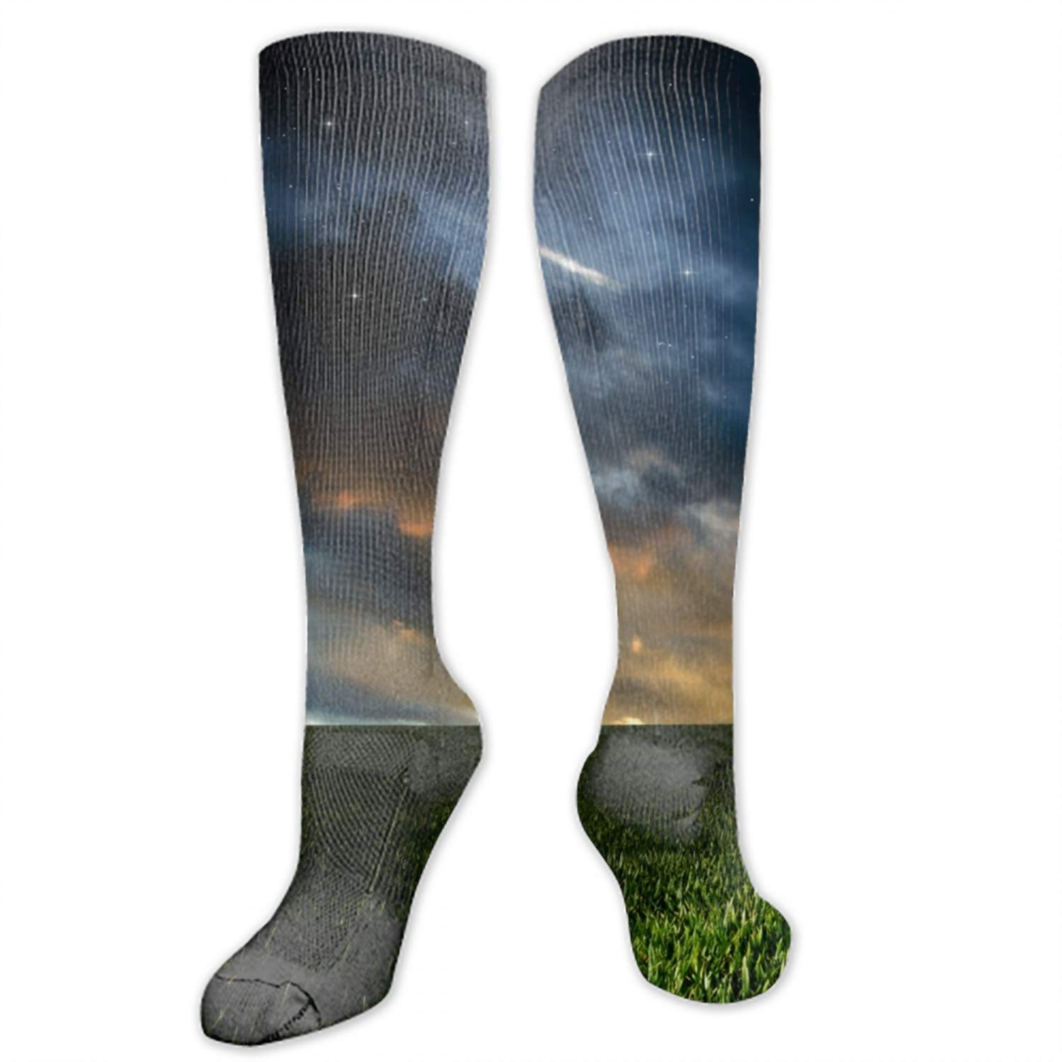 Womens Moon Grass Sky Knee High Socks Knit Boot Stockings Leg Warmer 1 Pairs