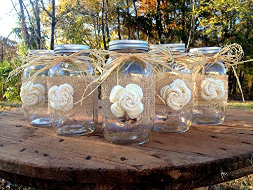 Rustic Mason Jars with Sola Flower - Rustic Wedding Decor - Wedding Mason Jars - Mason Jar Centerpieces - Ball Mason (Wedding Mason Jars)