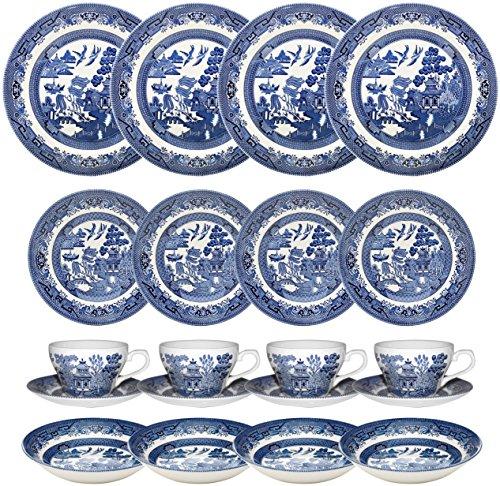 Churchill Blue Willow 20 Piece Dinner / Tea Set