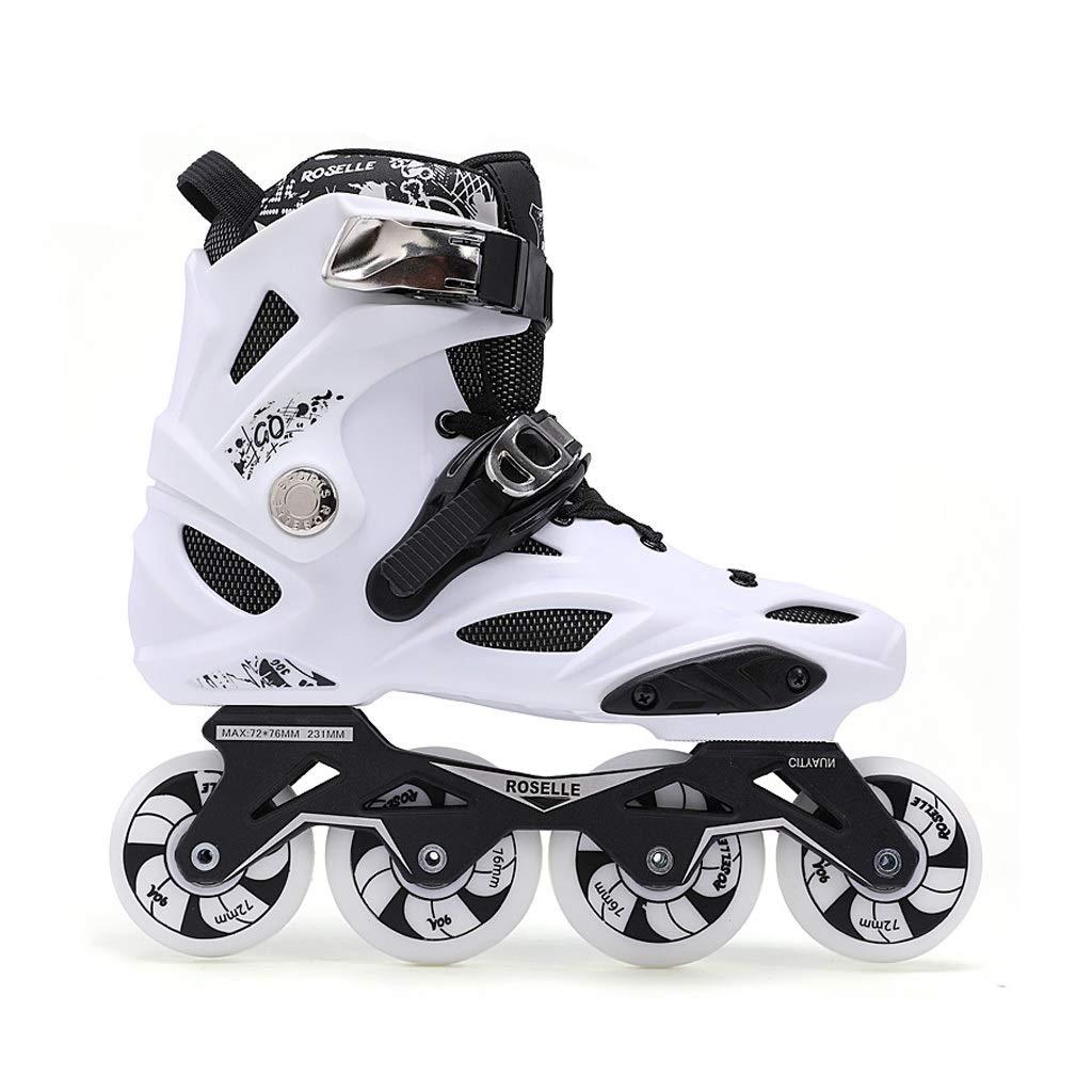 JIANXIN インラインスケート、男性と女性と初心者のためのスケート靴、白と黒に適した大人の軽輪ローラーブレード A