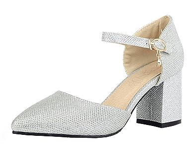 Damen Spitze Chunky Heels Pumps mit Bequem Blockabsatz und Riemchen Schnalle 7cm Absatz Schuhe