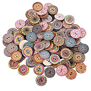 Souarts Pack of 100Pcs Wood Buttons, 2 Holes DIY Round Wood Buttons, Colorful Painted Flower Random Pattern, Medieval Retro Style, for DIY Sewing Crafting, 20mm /0.78inch