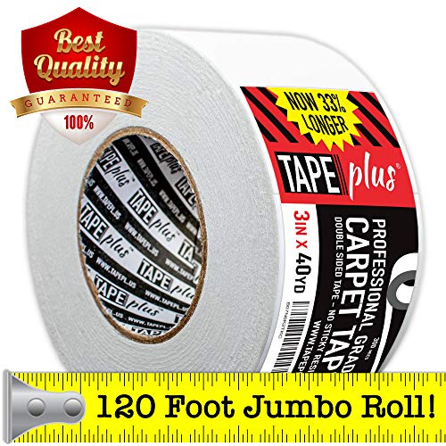 Professional Rug Tape - 3 Inch by 40 Yards (120 Feet! - 2x More!) - Double Sided Non-Slip Carpet Tape - Premium White Finish - Perfect Gripper for Holding Indoor Rugs in Place
