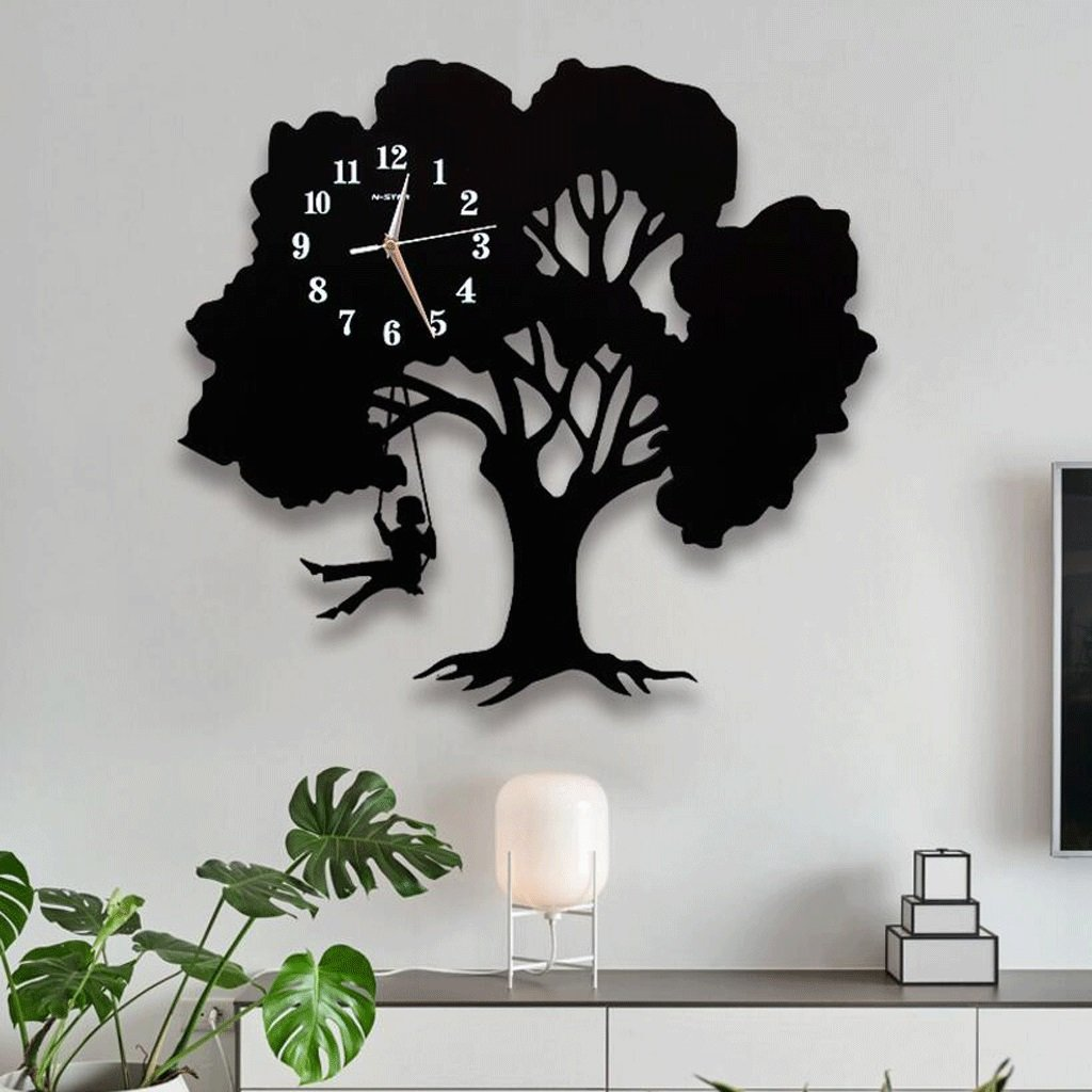 WTL ウォールクロック 家庭の雰囲気パーソナリティ現代サイレントウォールクロックシンプルなファッションアートクロック居間寝室クォーツ時計 (サイズ さいず : M) B07FL57VYK Medium Medium