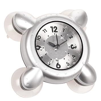 montre etanche horloge dans la salle de bains et la douche cuisine argent4 - Horloge Salle De Bain Ventouse