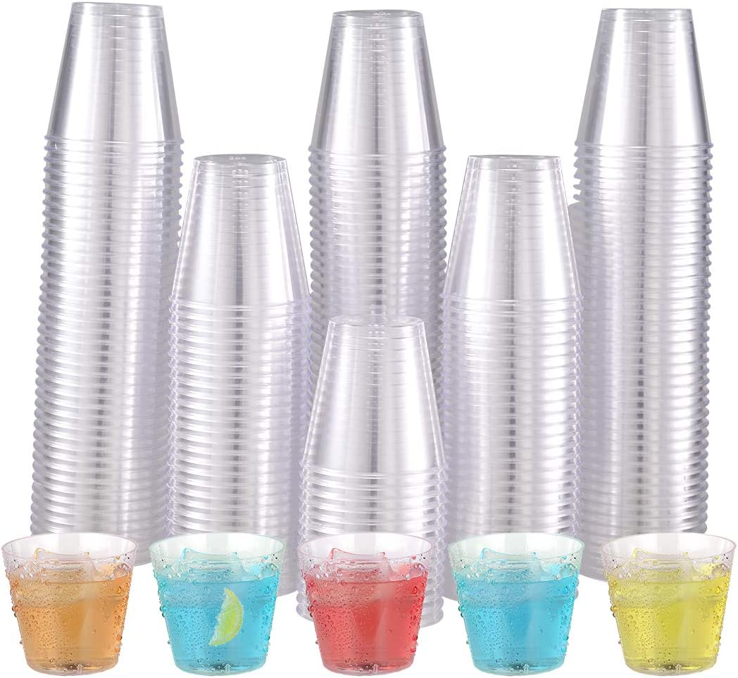 500 Plastic Shot Glasses-2oz Disposable Cups-2Ounce Plastic Shot Cups-Ideal Plastic Tumbler for Whiskey, Jello Shots, Tasting ,Food Samples,Perfect for Halloween, Thanksgiving ,Christmas Party