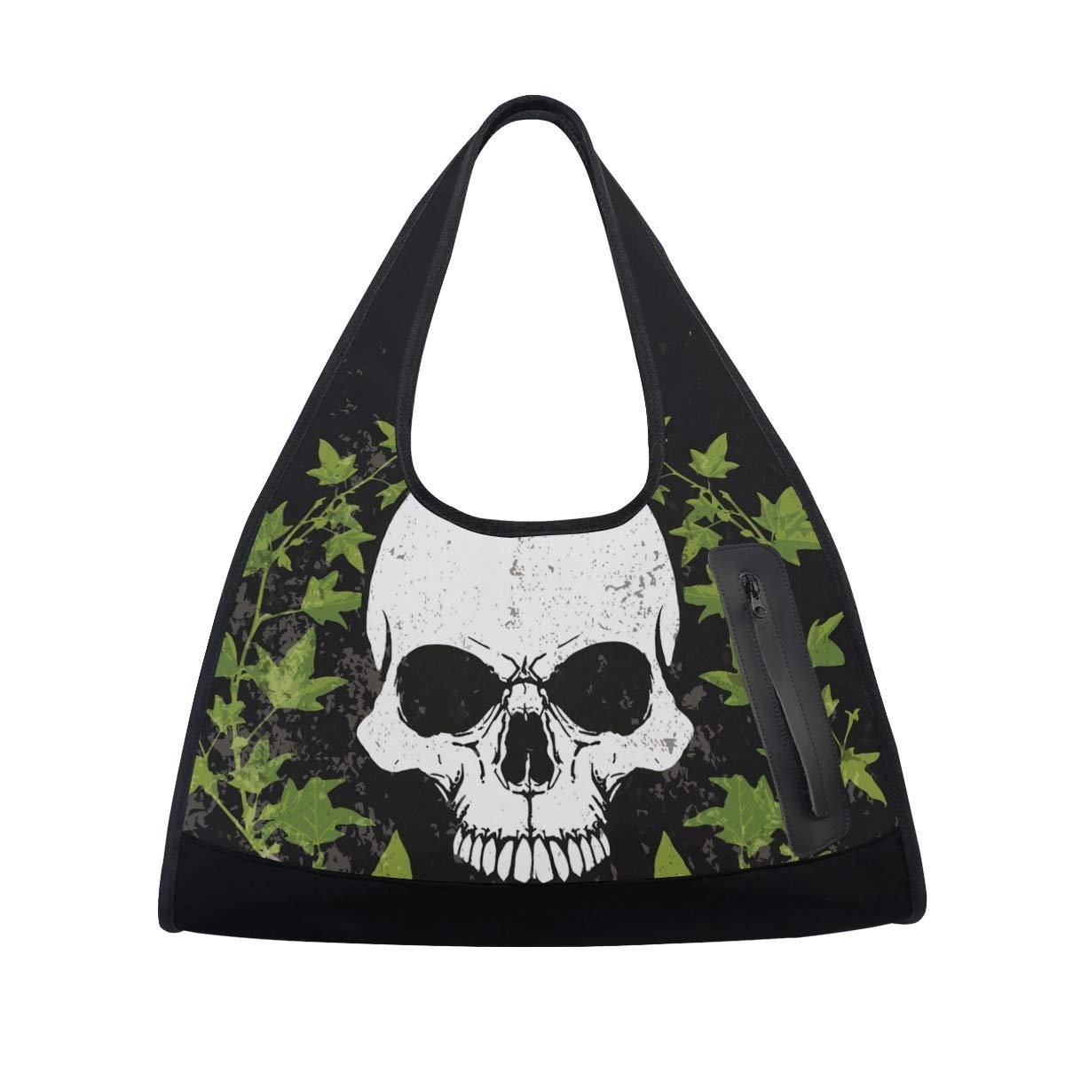 Gym Bag Sports Holdall Watercolor Skull Canvas Shoulder Bag Overnight Travel Bag for Men and Women