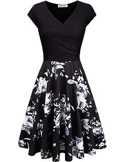 EMVANV Elegant Dresses Womens Casual Dress A Line Cap Sleeve V Neck
