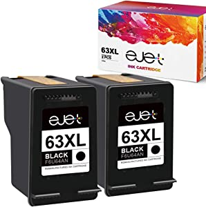 ejet 63XL 63 XL Remanufactured Ink Cartridge Replacement for HP 63XL 63 XL, High Yield Work with OfficeJet 3830 4650 5255 Envy 4520 4512 4516 Deskjet 1112 3630 3634 3632 2132 Printer (2 Black)