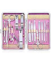 Profesional Cortaúñas Acero Inoxidable Grooming Kit - Set de 16 Piezas para Manicura y Pedicura Limpiador Cutícula con Bonita Caja (Rosa)