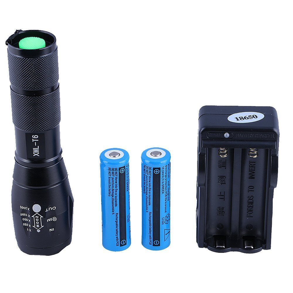 Hatori 18650 Flashlight 1000 Lumen Super Bright LED Rechargeable Tactical Flashlights Torch Black Emergency Light with 2 Lithium-ion Batteries and Charger, 5 Mode and Zoomable