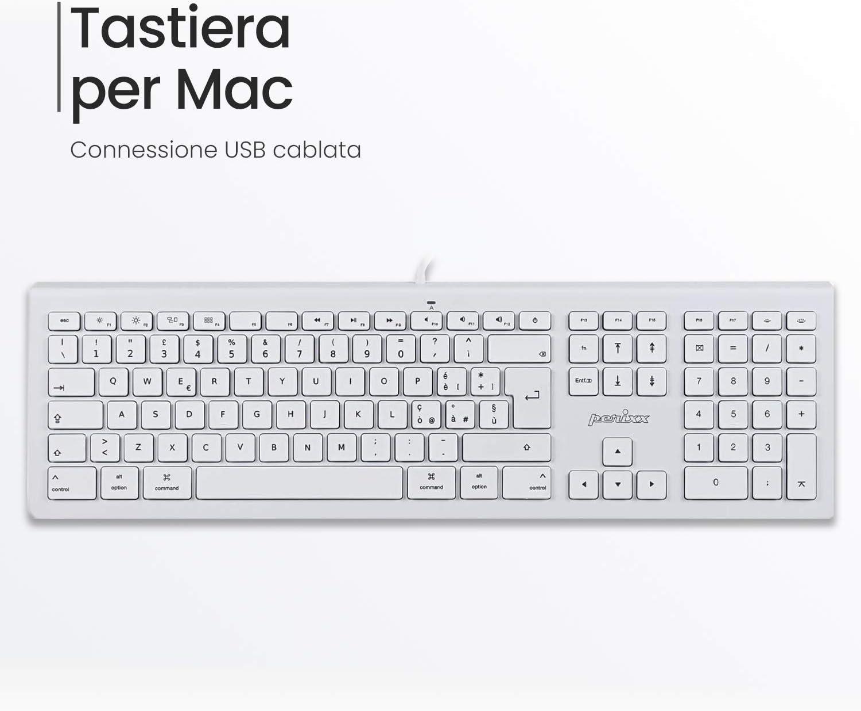 Perixx PERIBOARD-323 - Teclado retroiluminado compatible con Mac OS X, diseño ultra fino con teclas silenciosas, color blanco, disposición italiana: Amazon.es: Electrónica