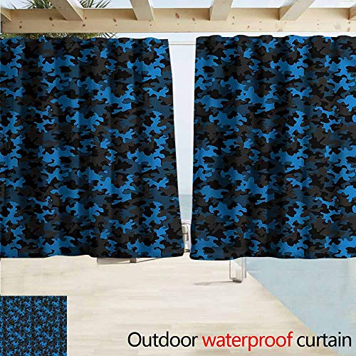 Rod Pocket Top Blackout Curtains/Drapes Camouflage Dark Tones Hiding Room Darkening, Noise Reducing W63x72L Inches