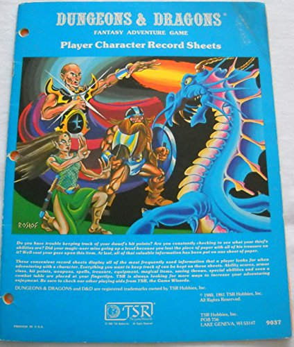 Player Character Record Sheets D&D