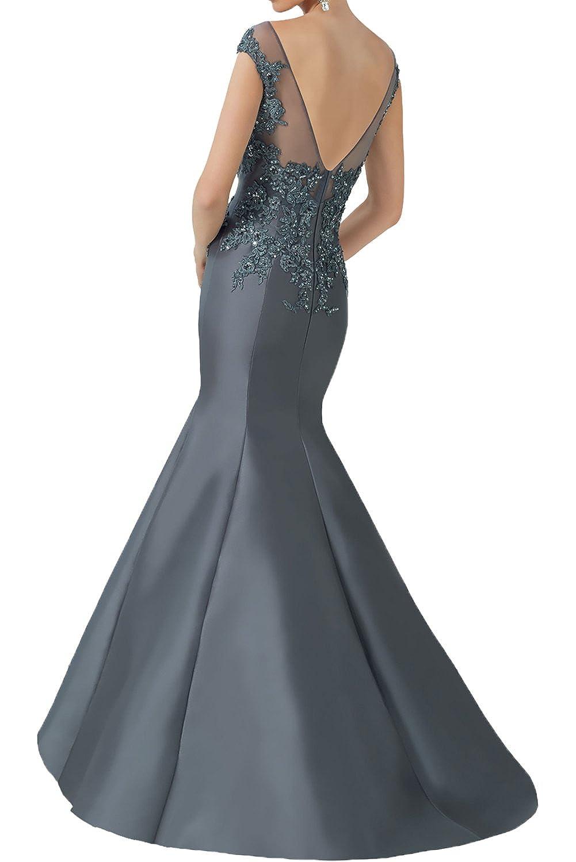 DressyMe Womens Elegant Evening Dresses Wedding Gown Mermaid Round-Neck Floral: Amazon.co.uk: Clothing