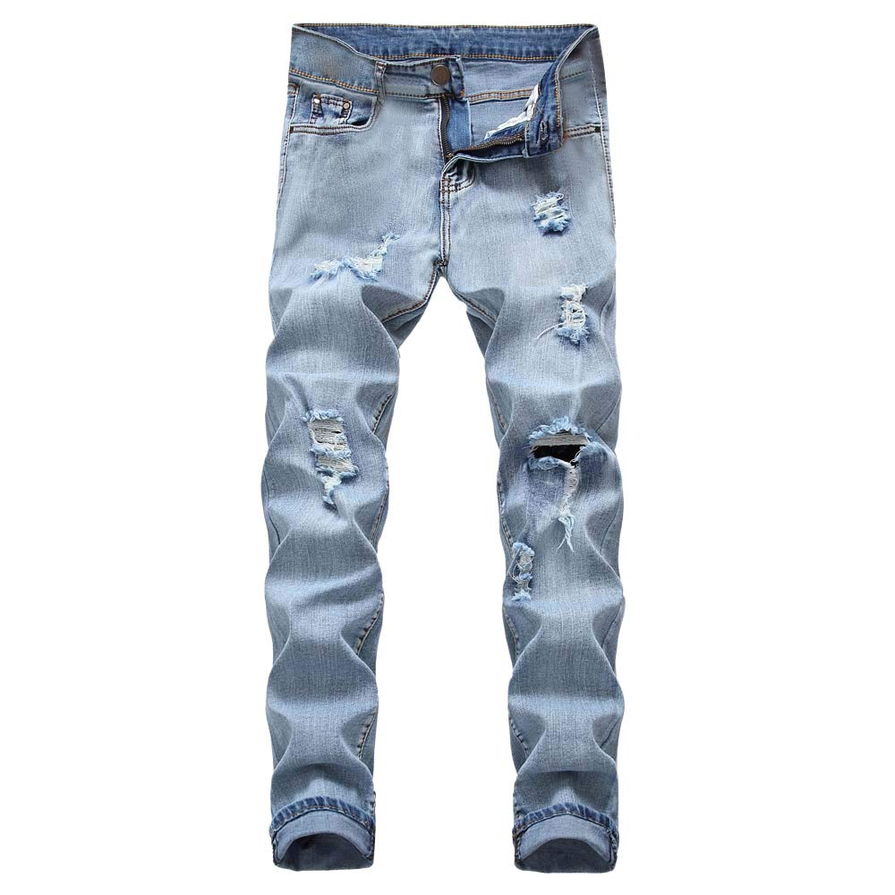 PASATO Men's Casual Autumn Denim Cotton Straight Ripped Hole Trousers Jeans Pants, Clearance Sale(Light, 38