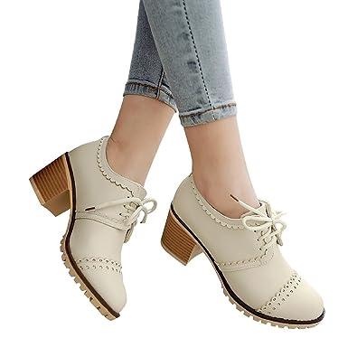 1ff109806f0 Susanny Classic Retro Pu Oxfords Brogue Shoes Women s Mid-Heel Wingtip Lace  Up Dress Shoes
