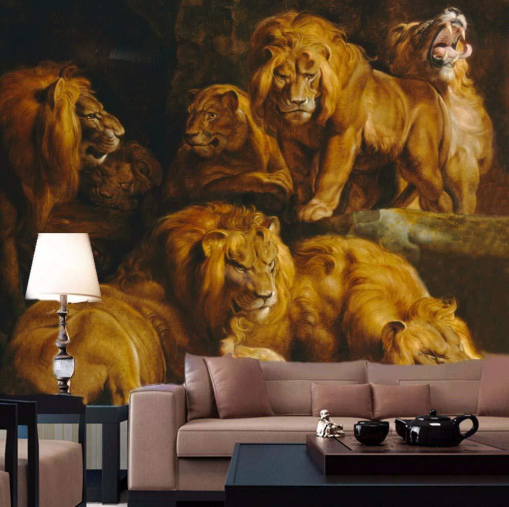 YSSYSS Papel tapiz 3D león gran león mural sala hotel pared ...