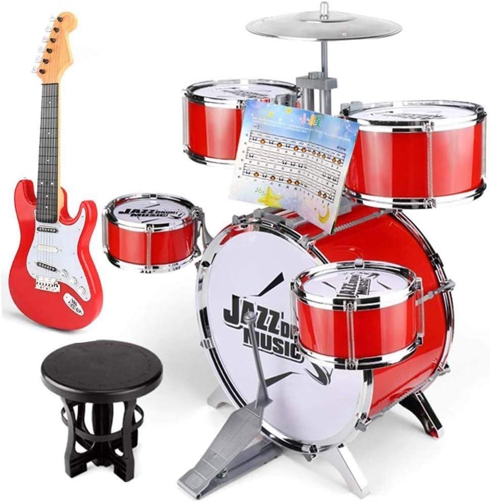 KJRJG Niños Jazz Drum Set - 5 tambores, platillos, Silla, Kick ...